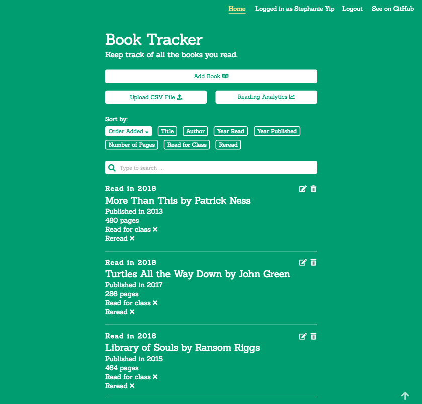 Book Tracker Homepage